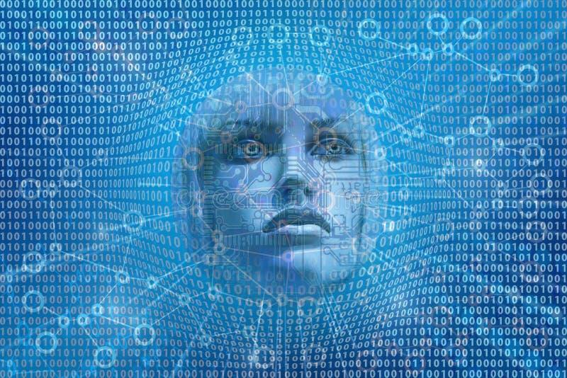 AI未来派有人的特点的人工智能概念二进制编码 向量例证