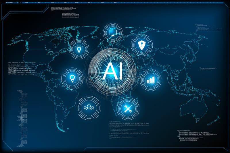 ai机器深刻的学习技术科学幻想小说概念的网站模板 向量例证