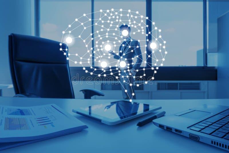 AI概念性在企业技术,人工智能骗局 免版税库存照片