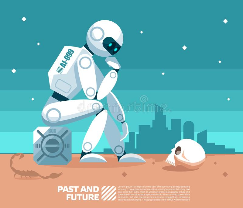 AI看一块人的头骨和在一个之后启示世界的背景中的人工智能机器人认为任何事  向量例证
