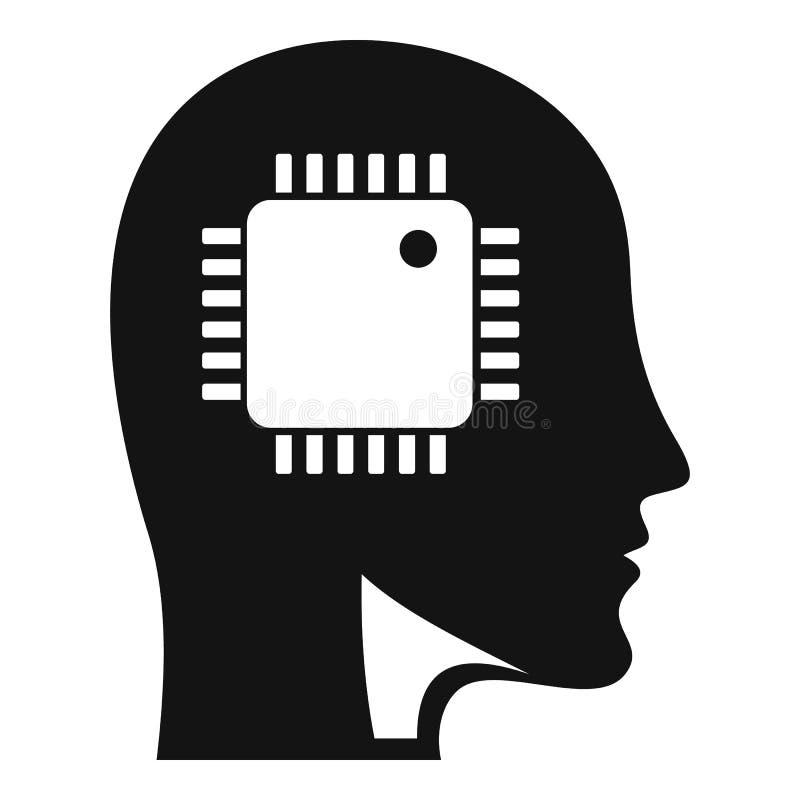 Ai聪明的处理器顶头象,简单的样式 向量例证