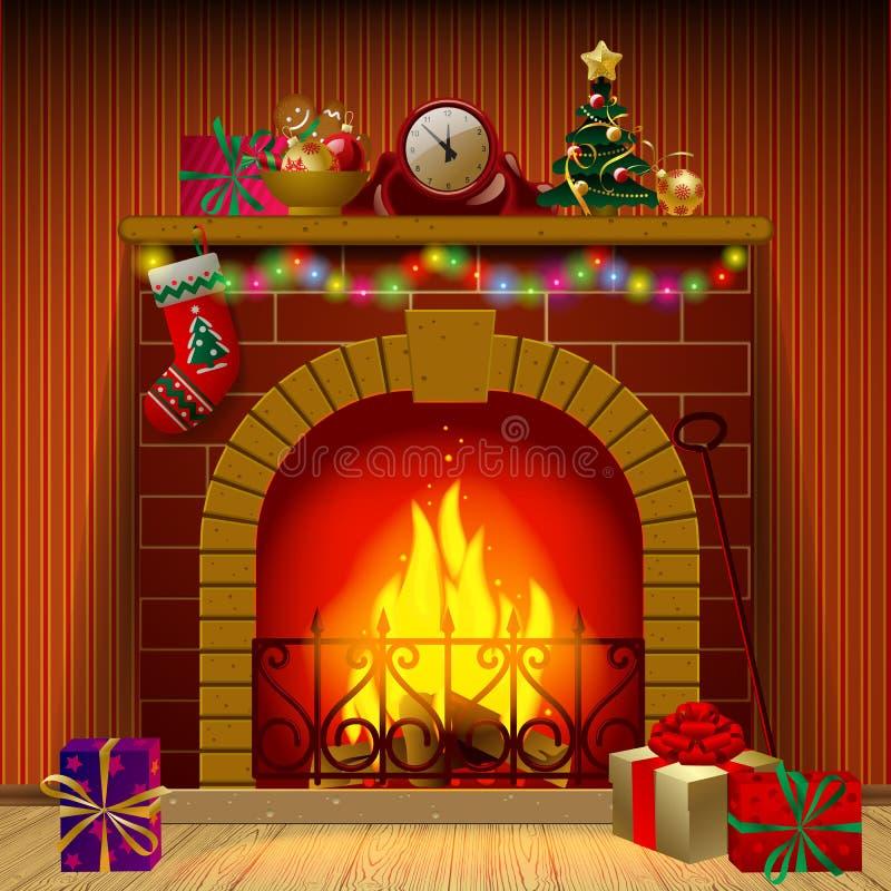 ai背景动画片圣诞节夫妇eps8文件壁炉格式例证结构树向量 库存例证