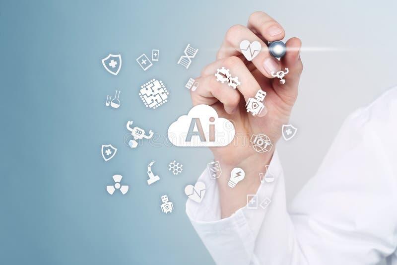 AI,人工智能,在现代医疗技术 IOT和自动化 图库摄影