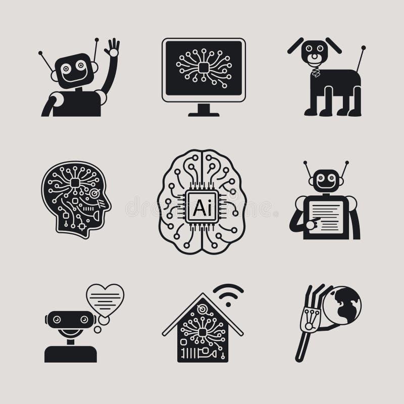 AI, ícones da inteligência artificial e sinais