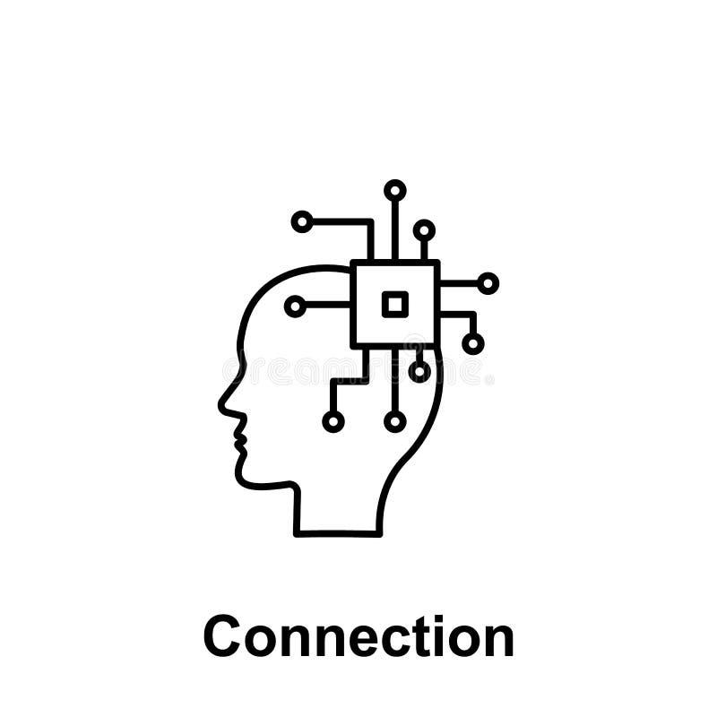 Ai, мозг, значок C.P.U. Элемент творческого имени witn значка thinkin Тонкая линия значок для дизайна вебсайта и развития, app иллюстрация штока