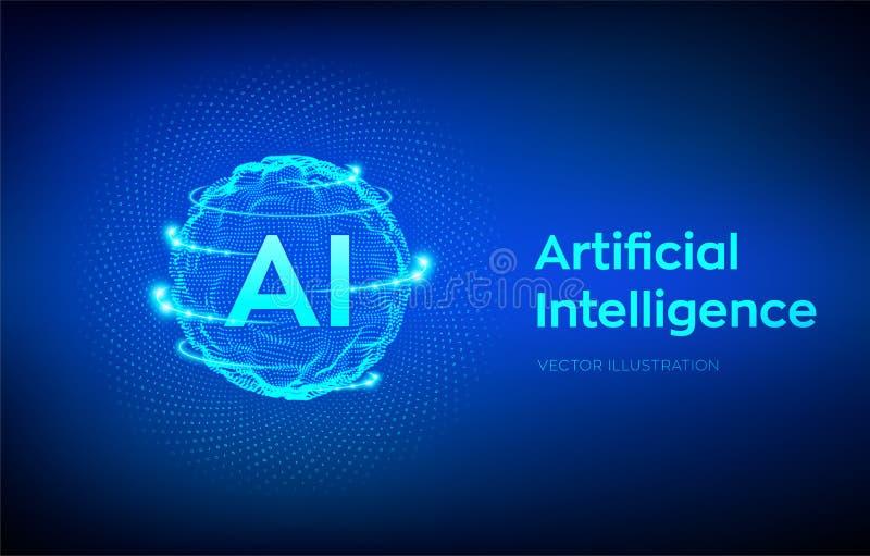AI Λογότυπο τεχνητής νοημοσύνης Έννοια εκμάθησης τεχνητής νοημοσύνης και μηχανών Κύμα πλέγματος σφαιρών με το δυαδικό κώδικα Μεγά απεικόνιση αποθεμάτων