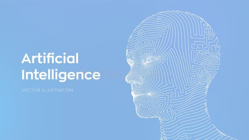 AI τεχνητή ηλεκτρονική νοημοσύνη έννοιας κυκλωμάτων εγκεφάλου mainboard Ψηφιακός εγκέφαλος AI Αφηρημένο ψηφιακό ανθρώπινο πρόσωπο διανυσματική απεικόνιση