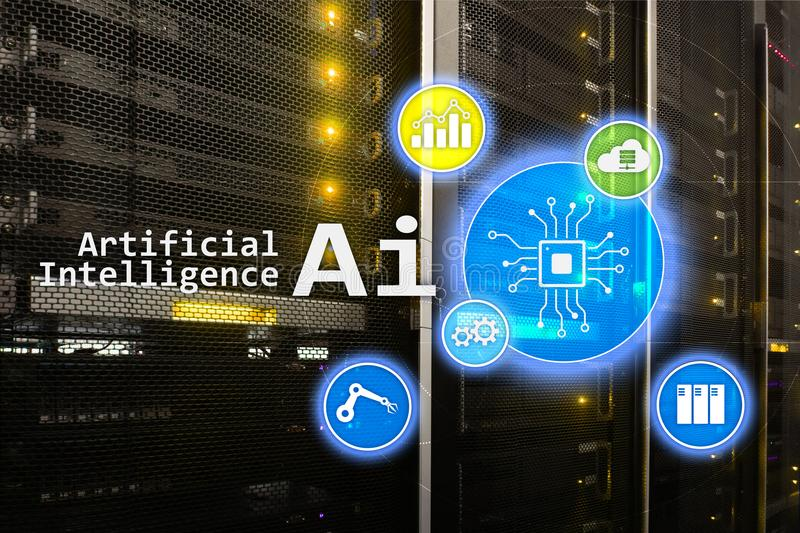 AI, τεχνητή νοημοσύνη, αυτοματοποίηση και σύγχρονη έννοια τεχνολογίας πληροφοριών στην εικονική οθόνη στοκ εικόνες