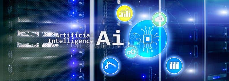 AI, искусственный интеллект, автоматизация и современная концепция информационной технологии на виртуальном экране бесплатная иллюстрация