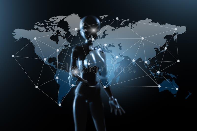 AI, искусственный интеллект схематический techno следующего поколени бесплатная иллюстрация