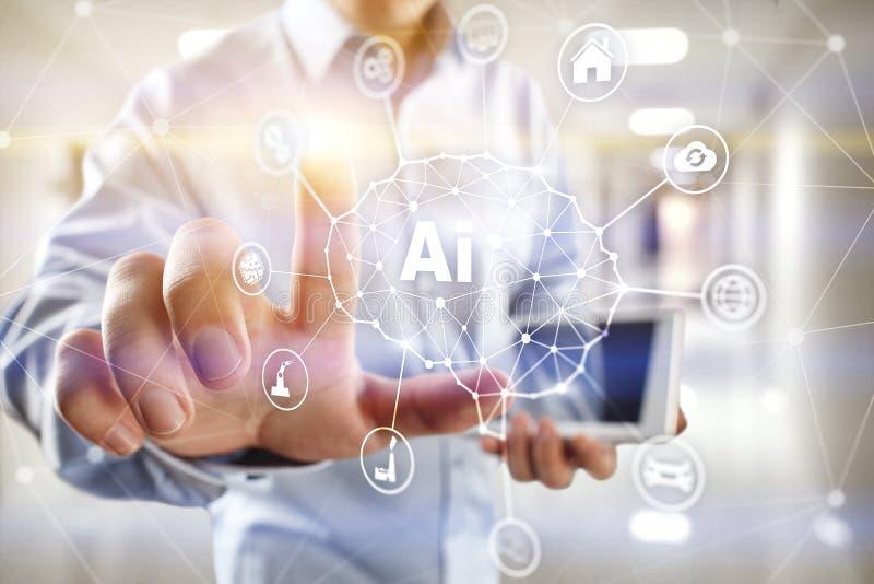 AI - Искусственный интеллект, умные технология и нововведение в деле индустрии и концепция жизни на виртуальном экране иллюстрация вектора
