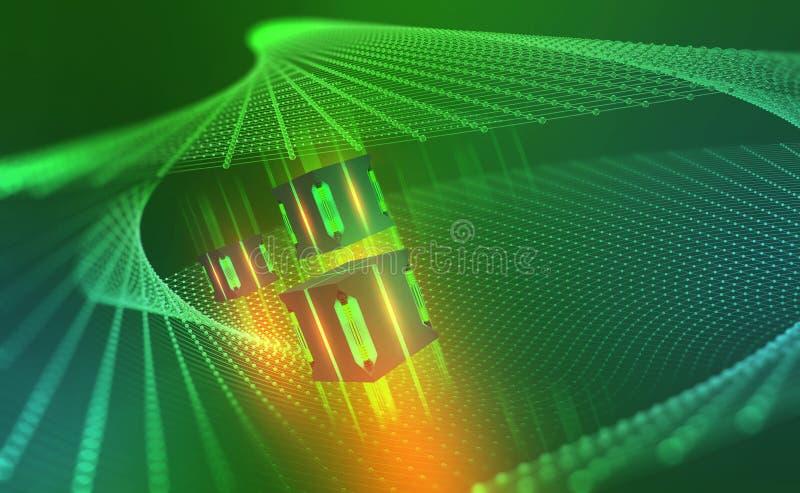 ai Компьютерная архитектура Кванта Концепция виртуального пространства абстрактная Сеть Blockchain иллюстрация вектора