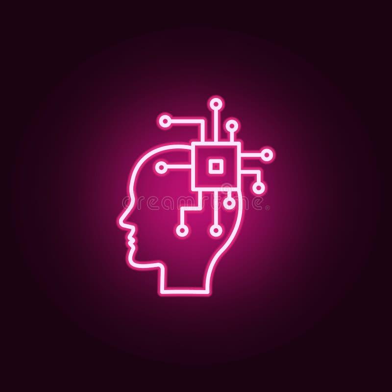 Ai, мозг, значок C.P.U. неоновый Элементы набора творческой мысли Простой значок для вебсайтов, веб-дизайн, мобильное приложение, иллюстрация вектора