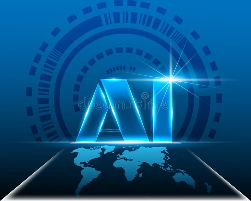 AI помечает буквами искусственный интеллект цифров с кибер карты мира иллюстрация штока