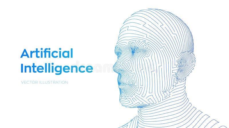 ai 人工智能概念 Ai数字脑子 摘要数字人面 在机器人数字计算机的人头 库存例证