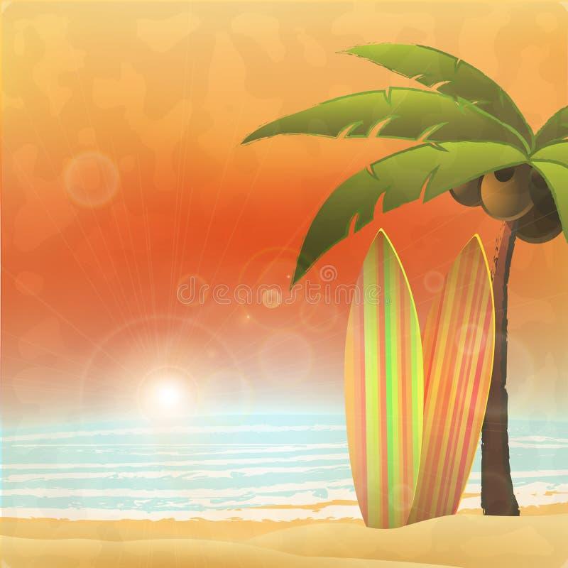 ai8全部,海滩dreamstime现在影响要素eps文件梯度被编组的检验层状线性没有天堂被保存的简单冲浪的热带假期向量等待 向量例证