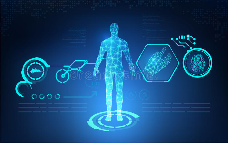 AI Abstract technological health care; science blue print; scientific interface; futuristic backdrop; digital blueprint of human; vector illustration