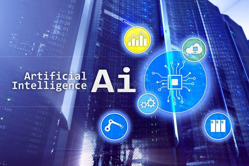 AI, artificial, automatização e conceito moderno da tecnologia da informação na tela virtual ilustração stock
