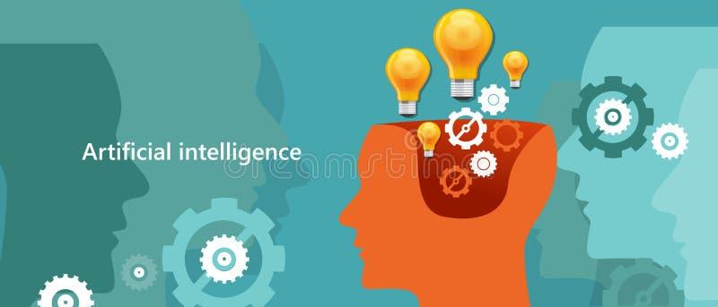 AI artificial intelligence computer technology to create human-like robot brain vector illustration