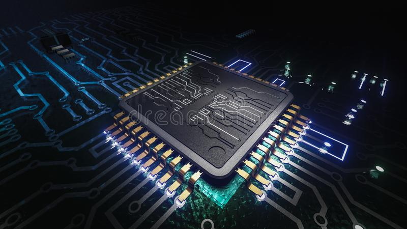 AI artificial intelligence concept Central Computer Processors CPU concept, 3d rendering, Circuit board, Technology background, stock illustration
