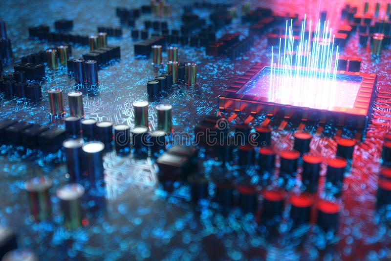 AI - artificial intelligence concept CPU. Machine learning. Central Computer Processors on the circuit board with royalty free illustration