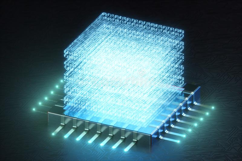 AI - artificial intelligence concept. Hologram above CPU. Machine learning. Central Computer Processors on the circuit vector illustration