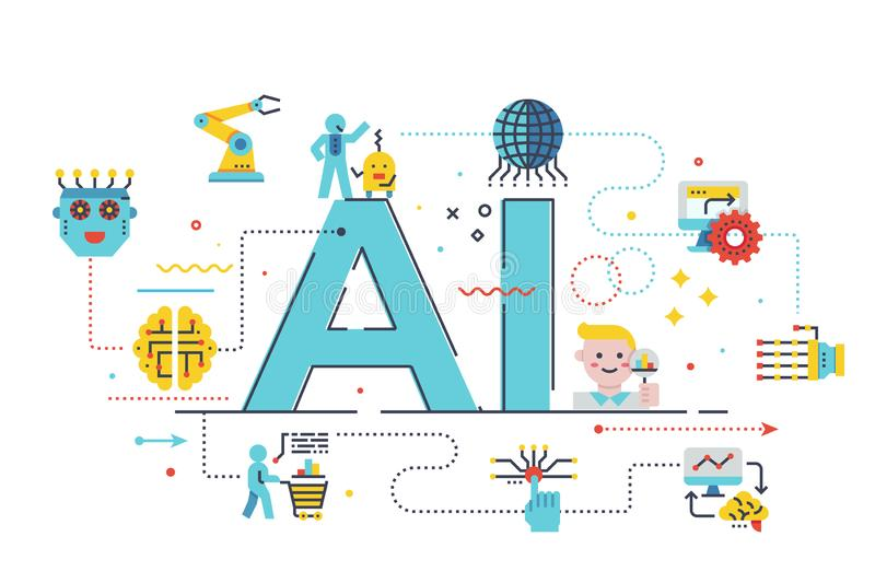 AI artificial intelligence concept illustration. AI artificial intelligence word lettering illustration with icons for web banner, flyer, landing page stock illustration