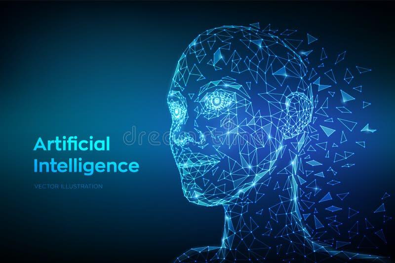 AI. Artificial intelligence concept. Low poly abstract digital human face. Human head in robot digital computer interpretation. stock illustration