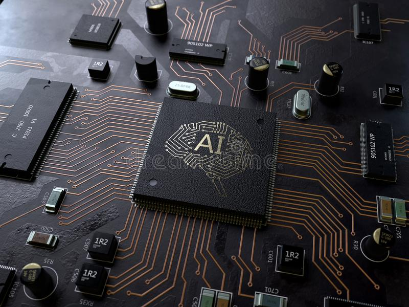AI, Artificial Intelligence circuit board stock photos
