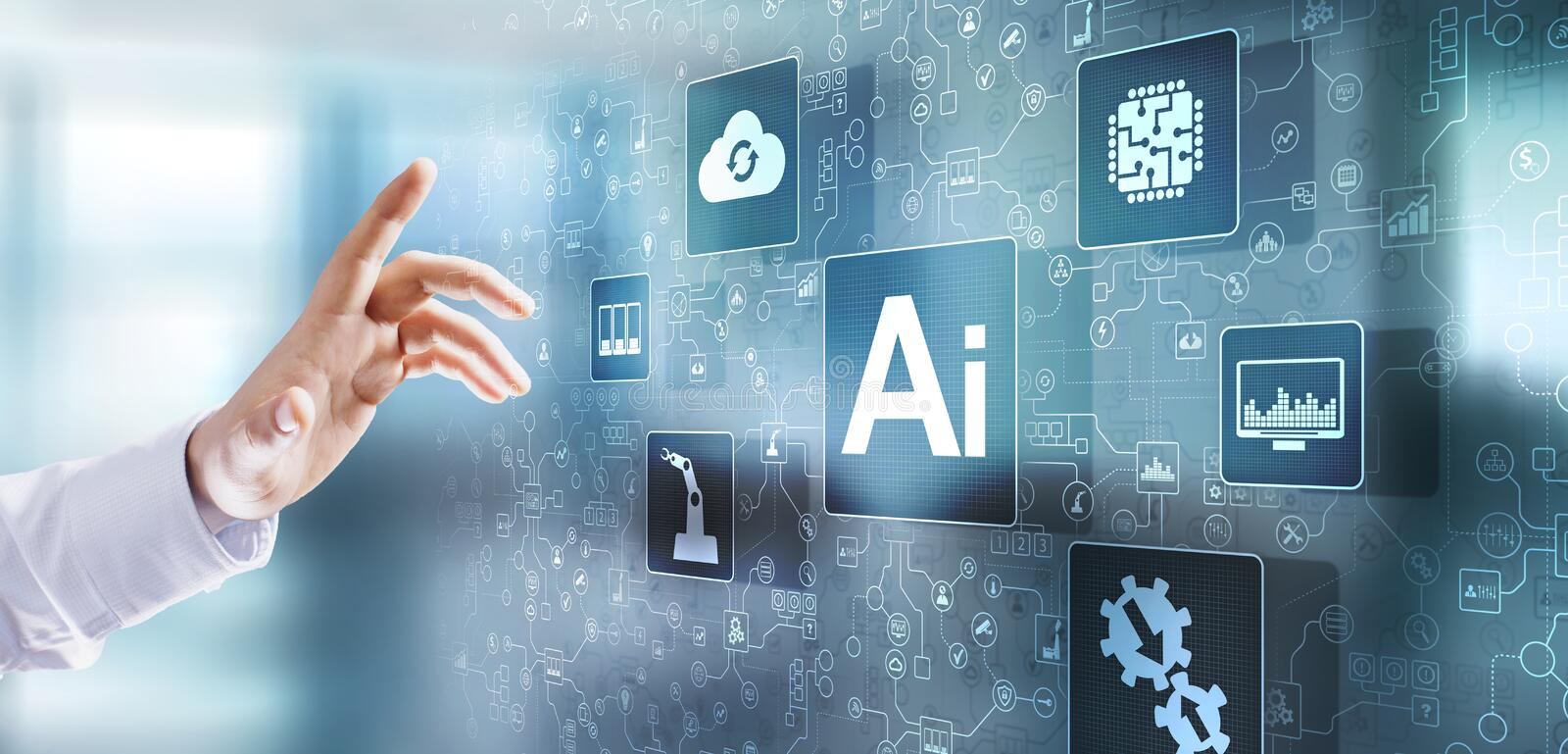 AI Artificial intelligence Deep Machine learning Neural network. Modern Internet technology concept. AI Artificial intelligence Deep Machine learning Neural royalty free stock photos