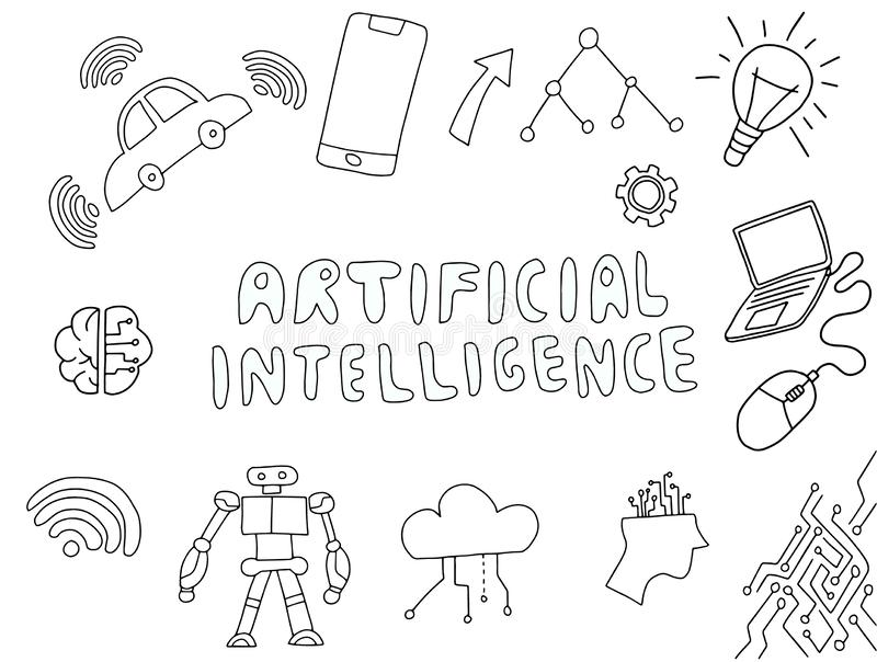 Ai artificial intelligence doodle with technology stuff vector vector illustration