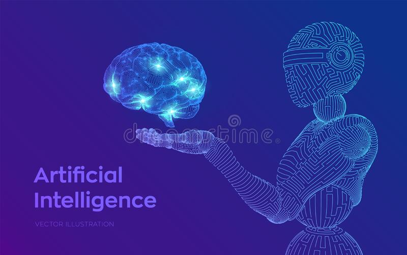 AI. Artificial intelligence. AI in the form of cyborg or bot. Wireframe robot. Digital brain. Brain in robotic hand. Machine. Learning. Graphic design concept vector illustration