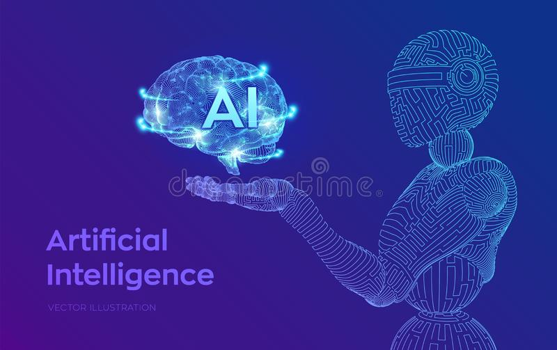 AI. Artificial intelligence. AI in the form of cyborg or bot. Wireframe robot. Digital brain. Brain in robotic hand. Machine. Learning. Graphic design concept stock illustration