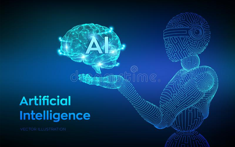 AI. Artificial intelligence. AI in the form of cyborg or bot. Wireframe robot. Digital brain. Brain in robotic hand. Machine. Learning. Graphic design concept royalty free illustration