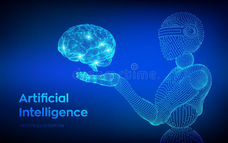AI. Artificial intelligence. AI in the form of woman cyborg or bot. Wireframe robot. Digital brain. Brain in robotic hand. Machine. Learning. Graphic design royalty free illustration