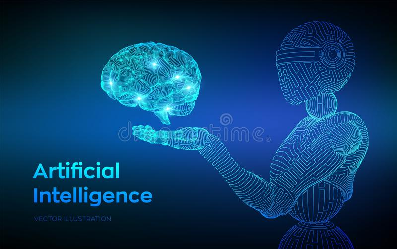 AI. Artificial intelligence. AI in the form of woman cyborg or bot. Wireframe robot. Digital brain. Brain in robotic hand. Machine. Learning. Graphic design stock illustration