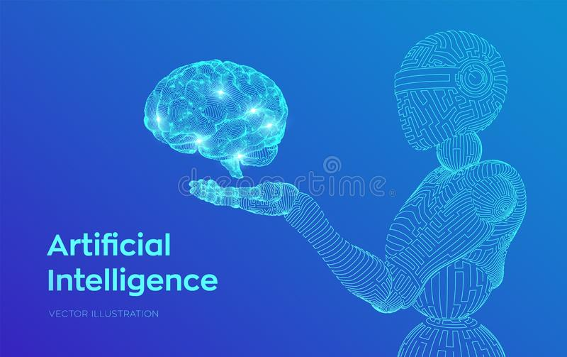 AI. Artificial intelligence. AI in the form of woman cyborg or bot. Wireframe robot. Digital brain. Brain in robotic hand. Machine. Learning. Graphic design vector illustration