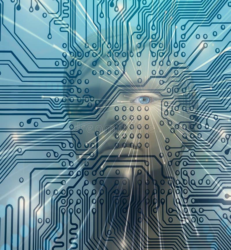 AI artificial intelligence humanoid circuit diagram concept. AI artificial intelligence humanoid robot eye with binary code and circuit diagram virtual computer stock photos