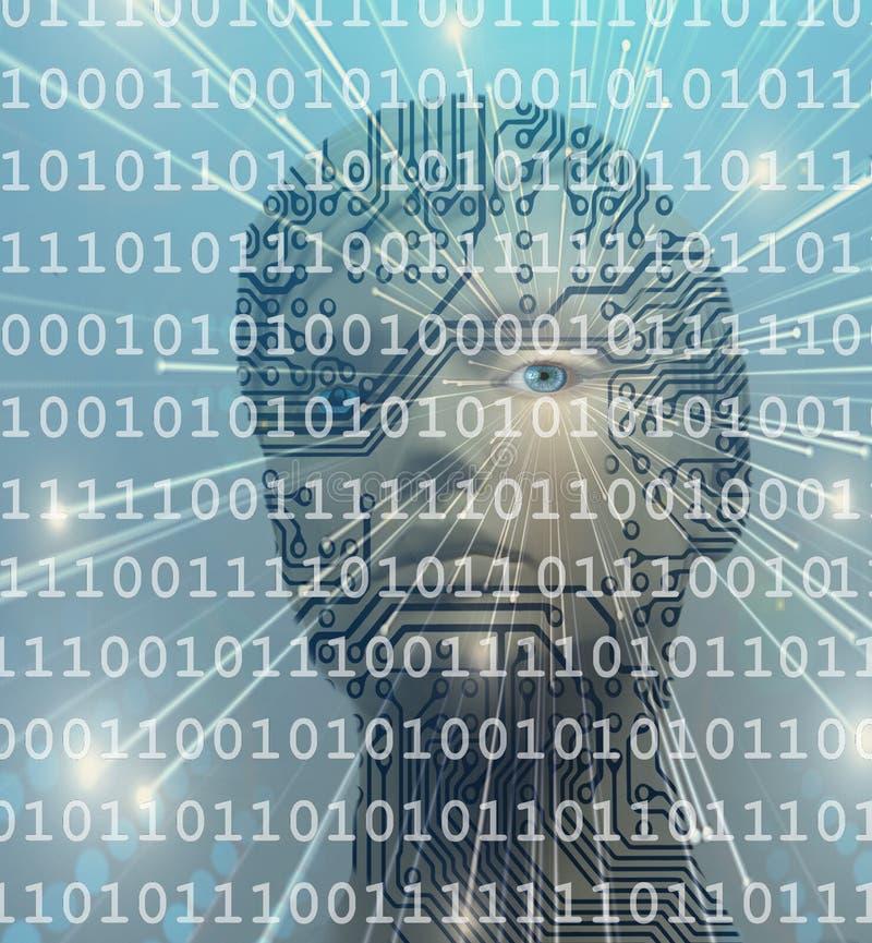AI artificial intelligence humanoid binary code concept. AI artificial intelligence humanoid robot eye with binary code virtual computer intelligence circuit royalty free stock photos