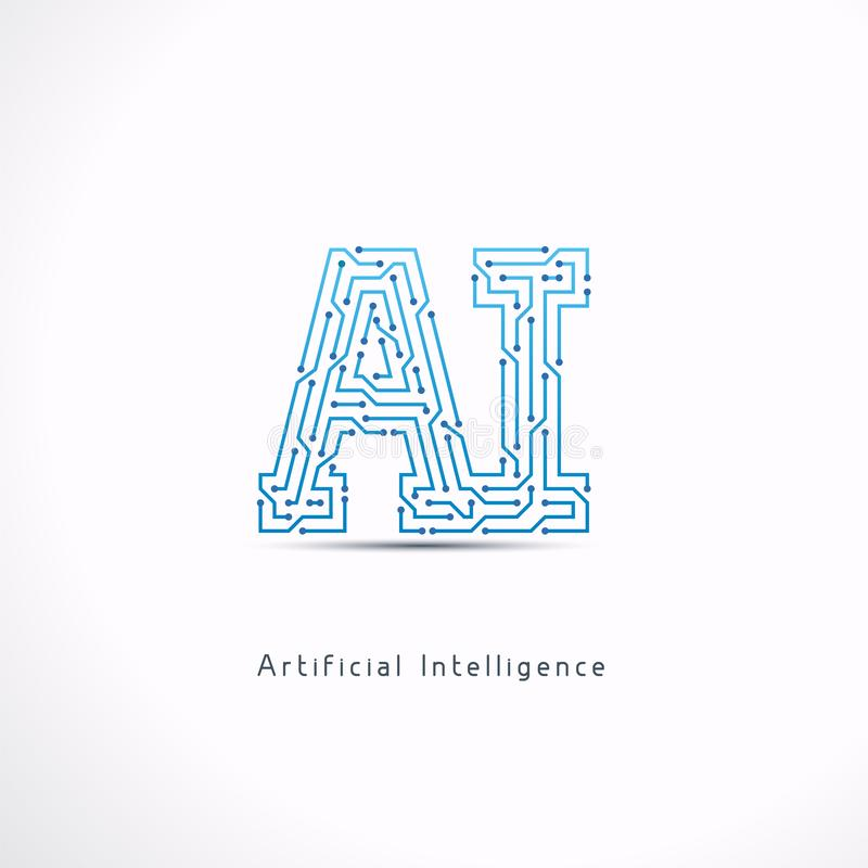 AI Artificial Intelligence letter Logo stock illustration