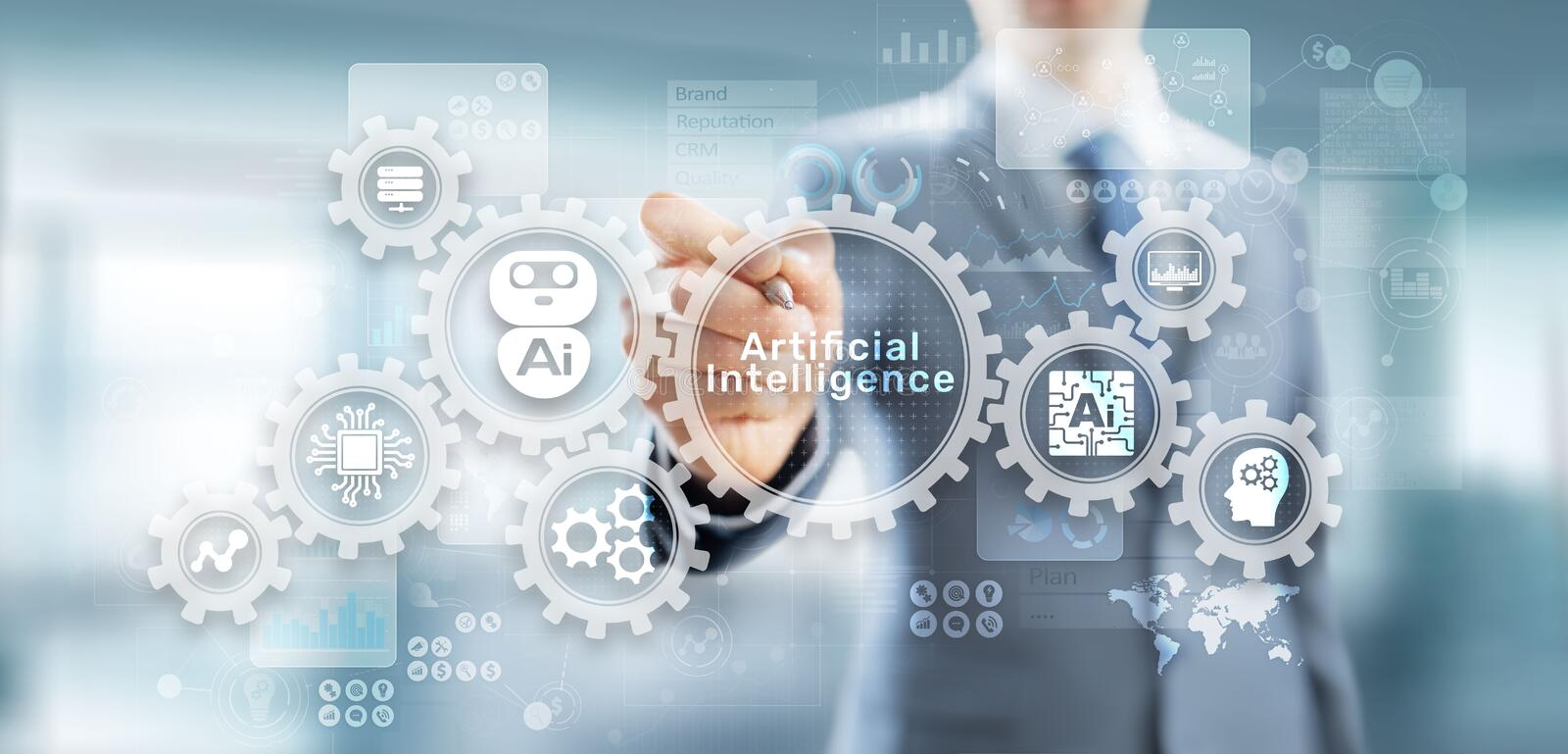AI artificial intelligence Machine Deep learning Robotisation and automation concept on virtual screen. AI artificial intelligence Machine Deep learning stock photos