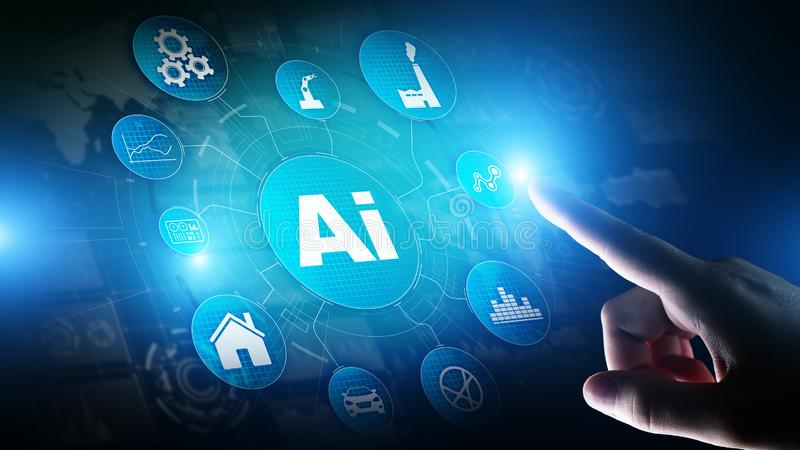 AI Artificial intelligence, Machine learning, Big data analysis and automation technology in business. And industrial manufacturing concept on virtual screen stock illustration