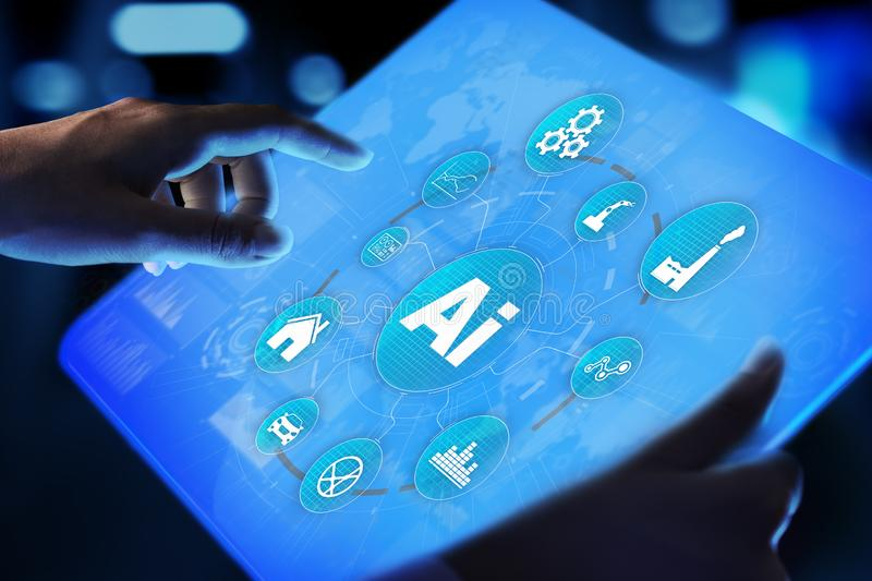 AI Artificial intelligence, Machine learning, Big data analysis and automation technology in business. And industrial manufacturing concept on virtual screen stock image
