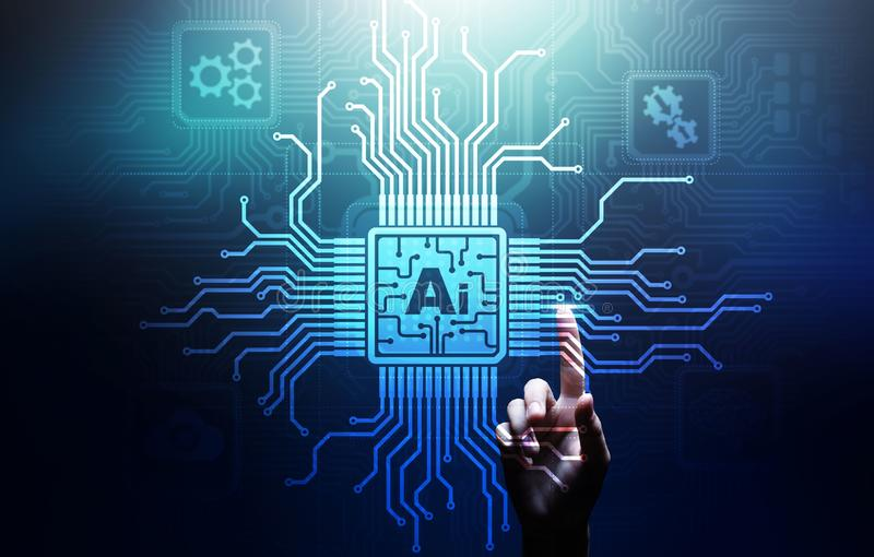 AI Artificial intelligence, Machine learning, Big data analysis and automation technology in business. And industrial manufacturing concept on virtual screen stock photo