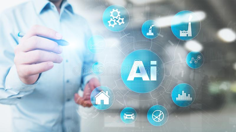 AI Artificial intelligence, Machine learning, Big data analysis and automation technology in industrial manufacturing. AI Artificial intelligence, Machine stock photos