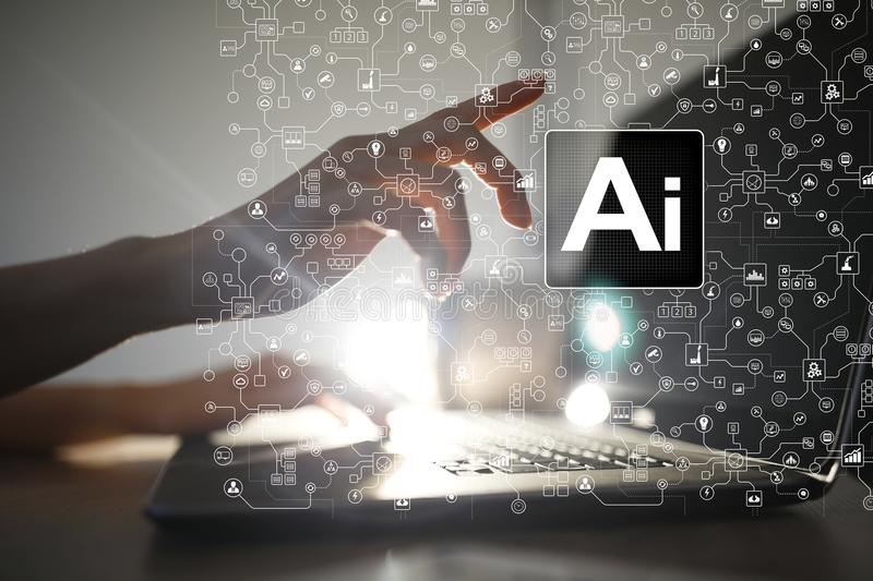 AI, Artificial intelligence, machine learning, neural networks and modern technologies concepts. IOT and automation. AI, Artificial intelligence, machine royalty free stock image