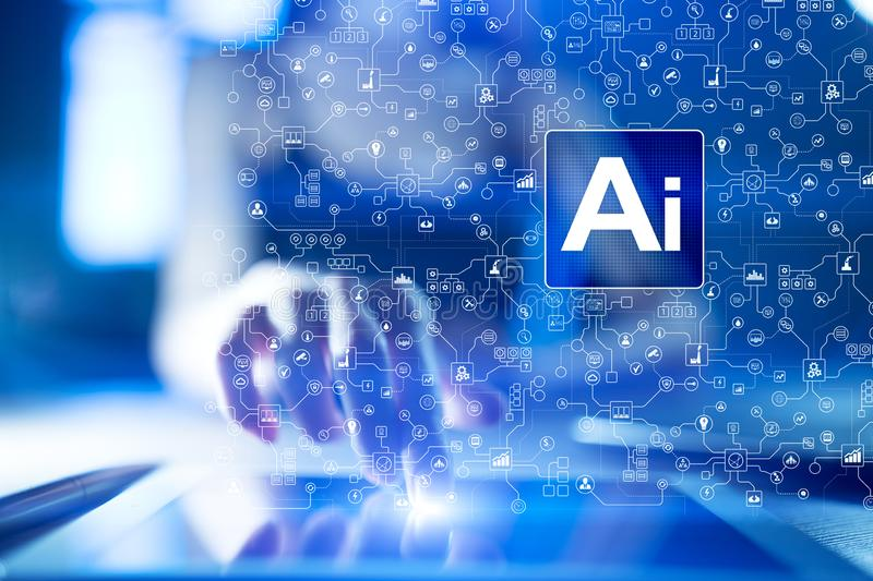 AI, Artificial intelligence, machine learning, neural networks and modern technologies concepts. IOT and automation. AI, Artificial intelligence, machine stock photos
