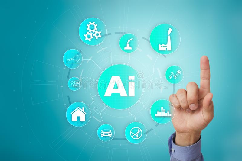 AI, Artificial intelligence, machine learning, neural networks and modern technologies concepts. IOT and automation. AI, Artificial intelligence, machine royalty free stock images