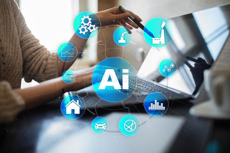 AI, Artificial intelligence, machine learning, neural networks and modern technologies concepts. IOT and automation. stock image