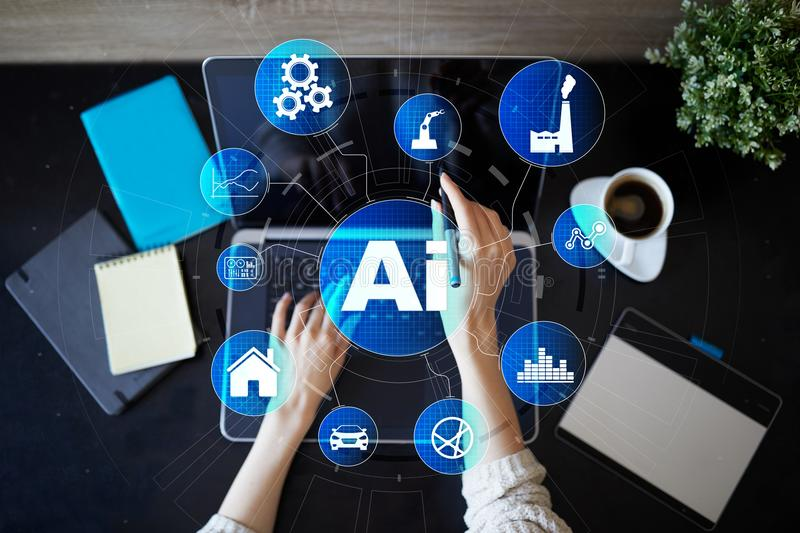 AI, Artificial intelligence, machine learning, neural networks and modern technologies concepts. IOT and automation. AI, Artificial intelligence, machine stock photography